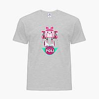 Детская футболка для девочек Робокар Поли (Robocar Poli) (25186-1621) Светло-серый, фото 1