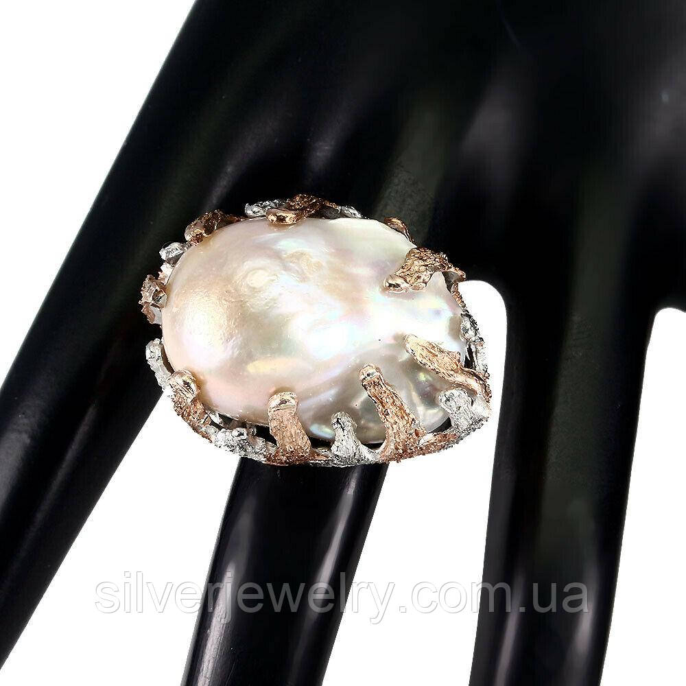 Серебряное кольцо с БАРОЧНЫМ ЖЕМЧУГОМ (натуральный), серебро 925 пр. Размер 20