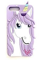 Чехол силиконовый Единорог-Конь для IPhone 5/5S/SE Violet (айфон 5/5с/се)