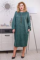Платье с ангоры размер плюс Манго малахит (54-68)