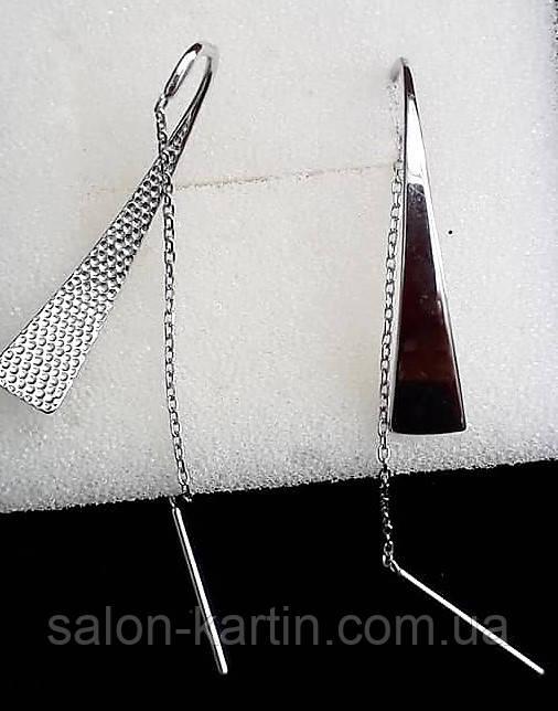 Серебрянные серьги-протяжки с треугольниками