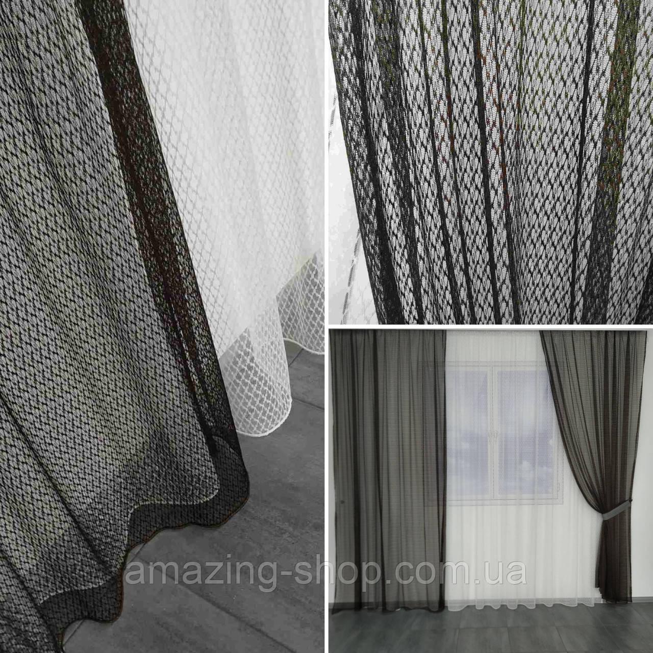 Комплект штори з тюллю Sarmasik. Тканина: турецька сітка на фатине. Колір - Місячна ніч