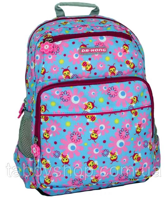 Рюкзак школьный ортопедический Dr. Kong Z293 голубой с розовыми цветами