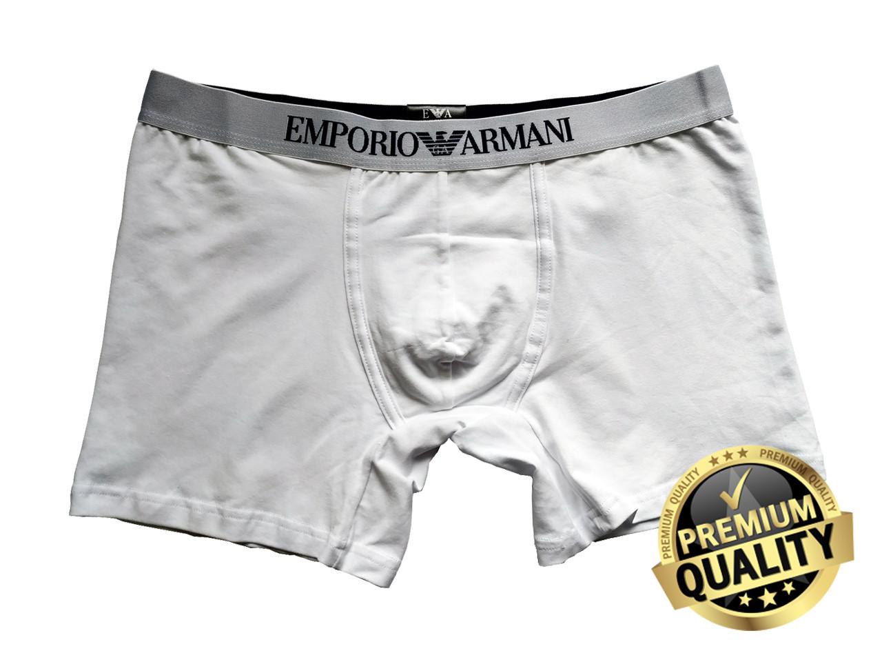 Чоловічі труси Emporio Armani білі. Повномірна подовжена модель. Преміум якість