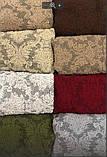 Натяжные универсальные чехлы съемные накидки на диван и кресла жаккардовые без оборки Зеленый Турция, фото 8