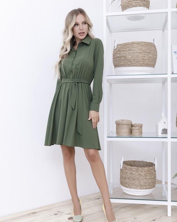 Платье-рубашка цвета хаки с длинными рукавами