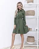 Платье-рубашка цвета хаки с длинными рукавами, фото 2