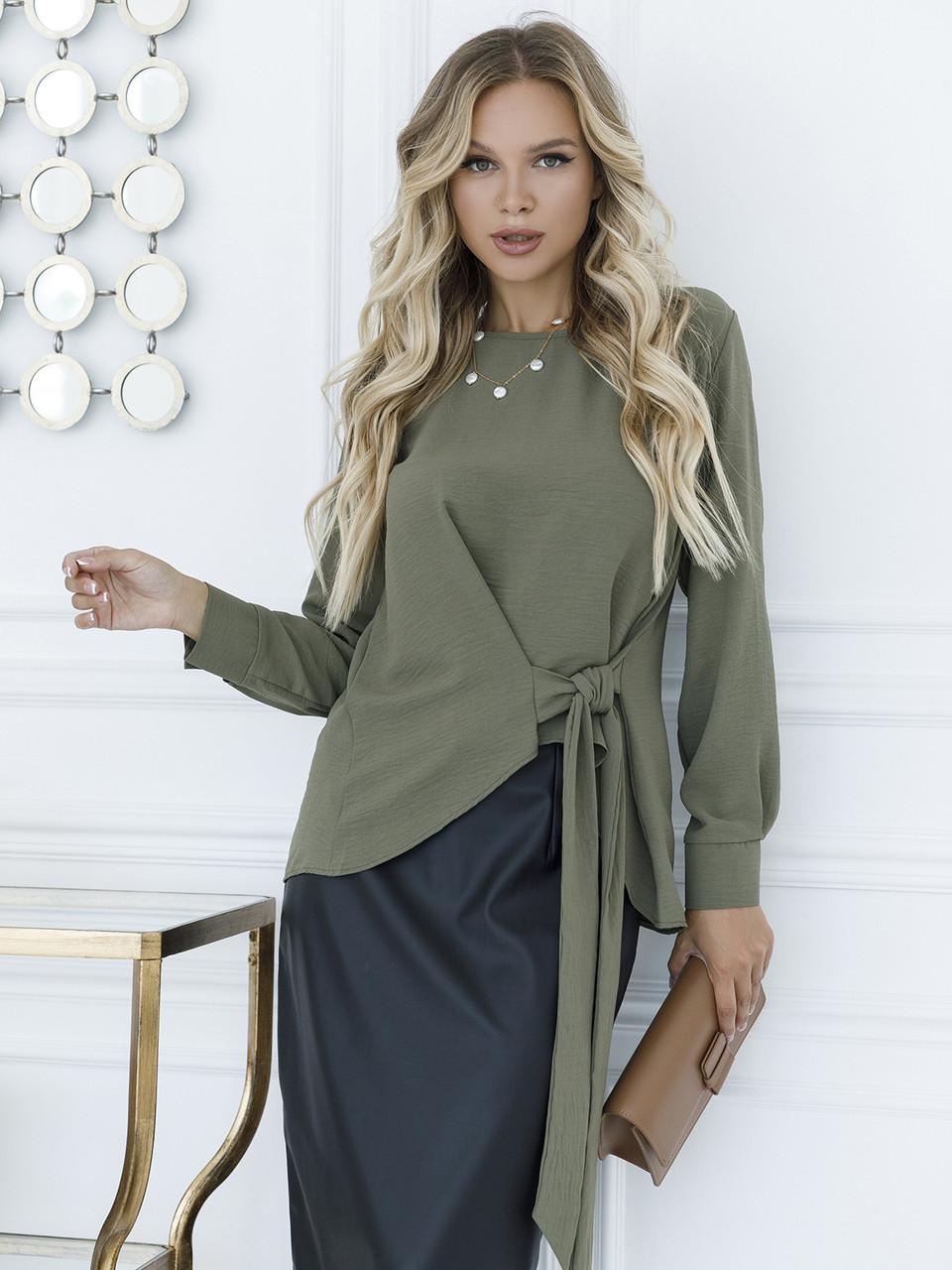 Асимметричная блуза с завязкой
