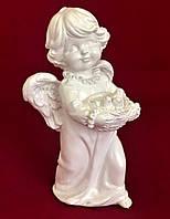 Интерьерная статуэтка Девочка с птичками, белый, 19 см