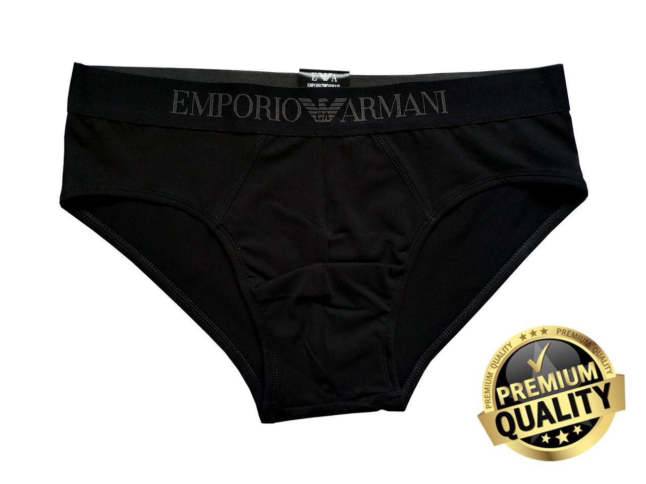 Мужские трусы слипы Emporio Armani чёрные. Полномерная модель. Премиум качество.