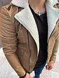 Дубленка - Мужская косуха дубленка на овчине (бежевая), фото 2