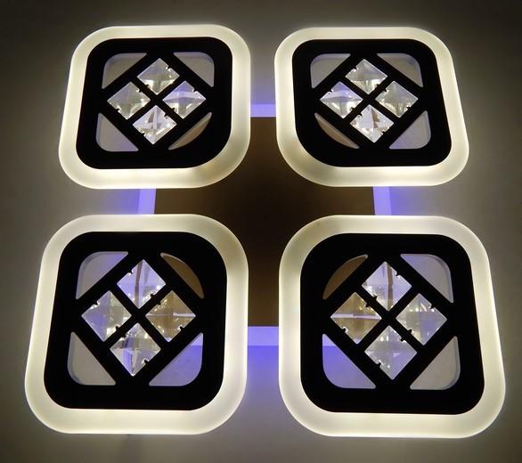 Диодная люстра на потолок с пультом димер квадратная на 15 кв.м цвет Хром 70WЛиния солнца&6009/4S CH