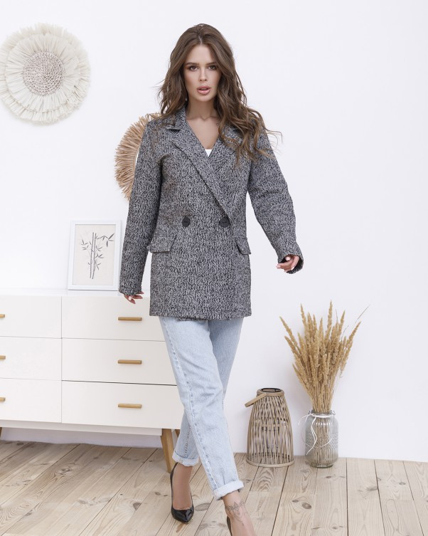 Серый удлиненный твидовый пиджак