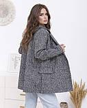 Серый удлиненный твидовый пиджак, фото 3