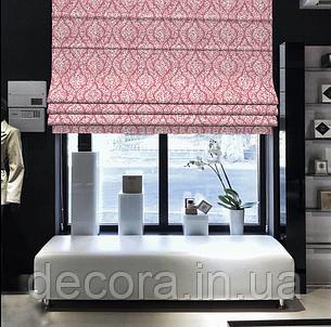 Римська штора з білим візерунком на рожевому фоні, фото 2
