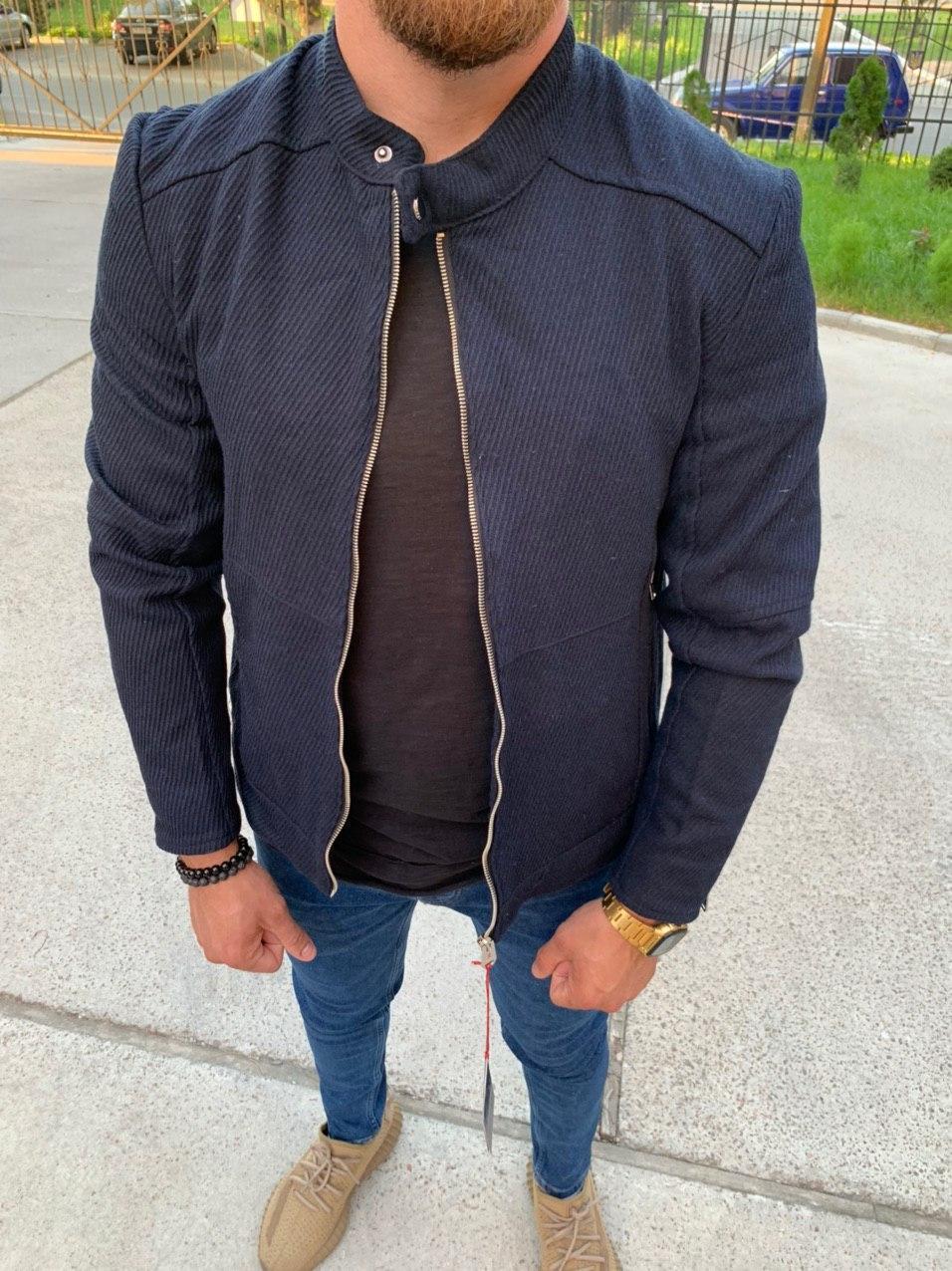Бомбер - Мужской темно-синий бомбер вискоза