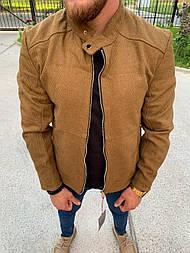 Бомбер - Чоловічий, світло-коричневий бомбер віскоза
