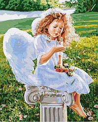 """Картина по номерам """"Маленький ангел"""" Сложность: 1 (ангел, ребенок, ангелок, девочка, в белом, с крыльями, с"""