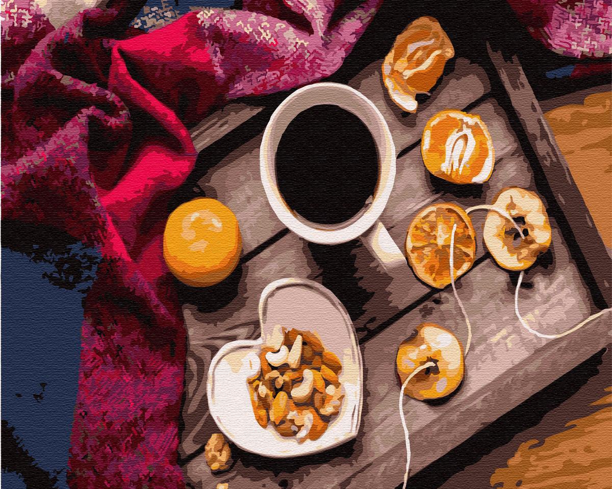 """Картина по номерам """"Вкусный перерыв"""" Сложность: 4 (натюрморт, мандарины, кофе, еда, вкусности, чашка)"""