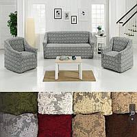 Съемные универсальные натяжные чехлы накидки на диван и кресла без оборки жаккардовые Серый