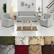 Съемные универсальные натяжные  чехлы накидки на диван и кресла без оборки жаккардовые Светло серый