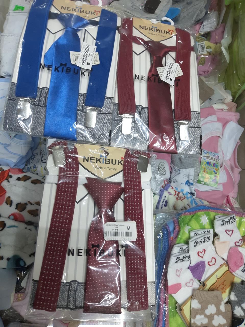 Комплект галстук бабочка детский с подтяжками