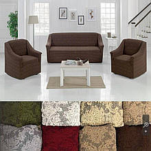 Универсальные натяжные чехлы съемные накидки на диван и кресла жаккардовые без оборки Коричневый Турция