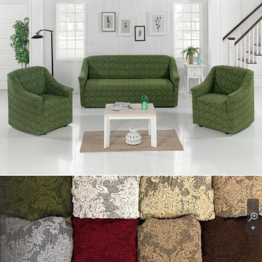 Натяжные универсальные чехлы съемные накидки на диван и кресла жаккардовые без оборки Зеленый Турция