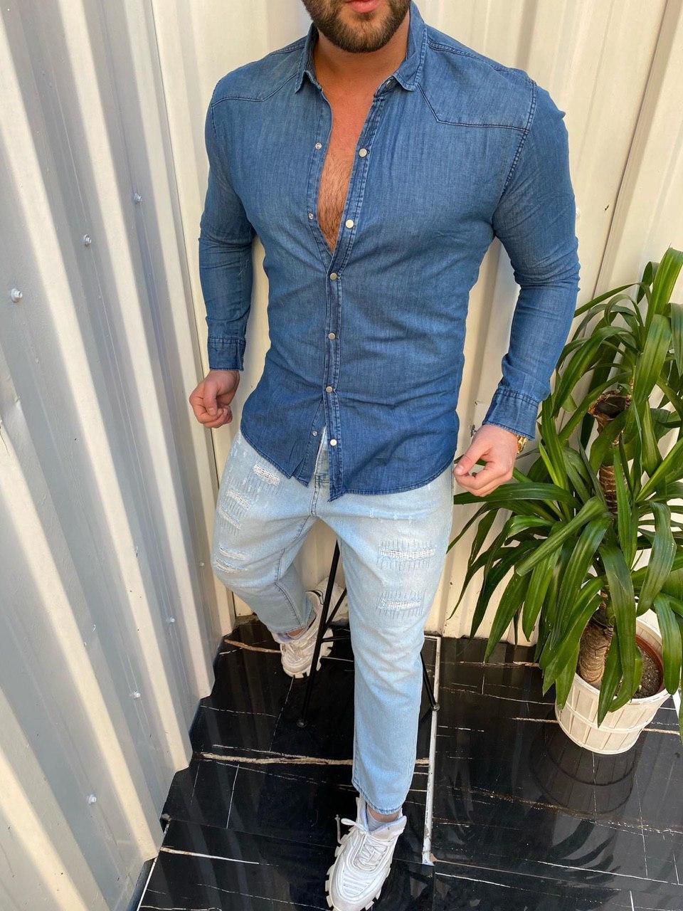 Мужская рубашка M480 синяя