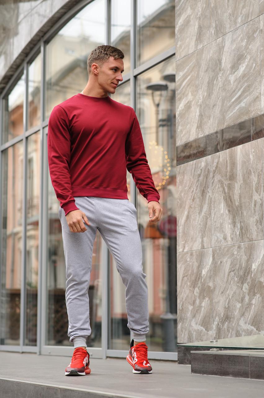 Спортивный костюм мужской свитшот и штаны WB размер S бордово-серый