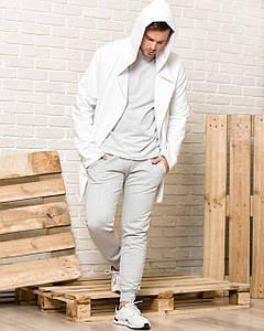 Комплект мантия с капюшоном и спортивные штаны мужской WB бело-серый