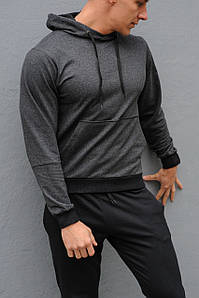 Толстовка чоловіча з капюшоном WB розмір S темно-сіра