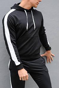 Толстовка мужская с лампасами и капюшоном WB размер S черная