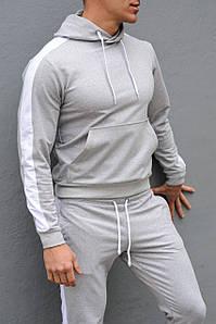 Толстовка мужская с лампасами и капюшоном WB размер S серая
