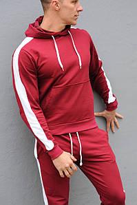 Толстовка мужская с лампасами и капюшоном WB размер S бордовая