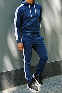 Толстовка мужская с лампасами и капюшоном WB размер S синяя