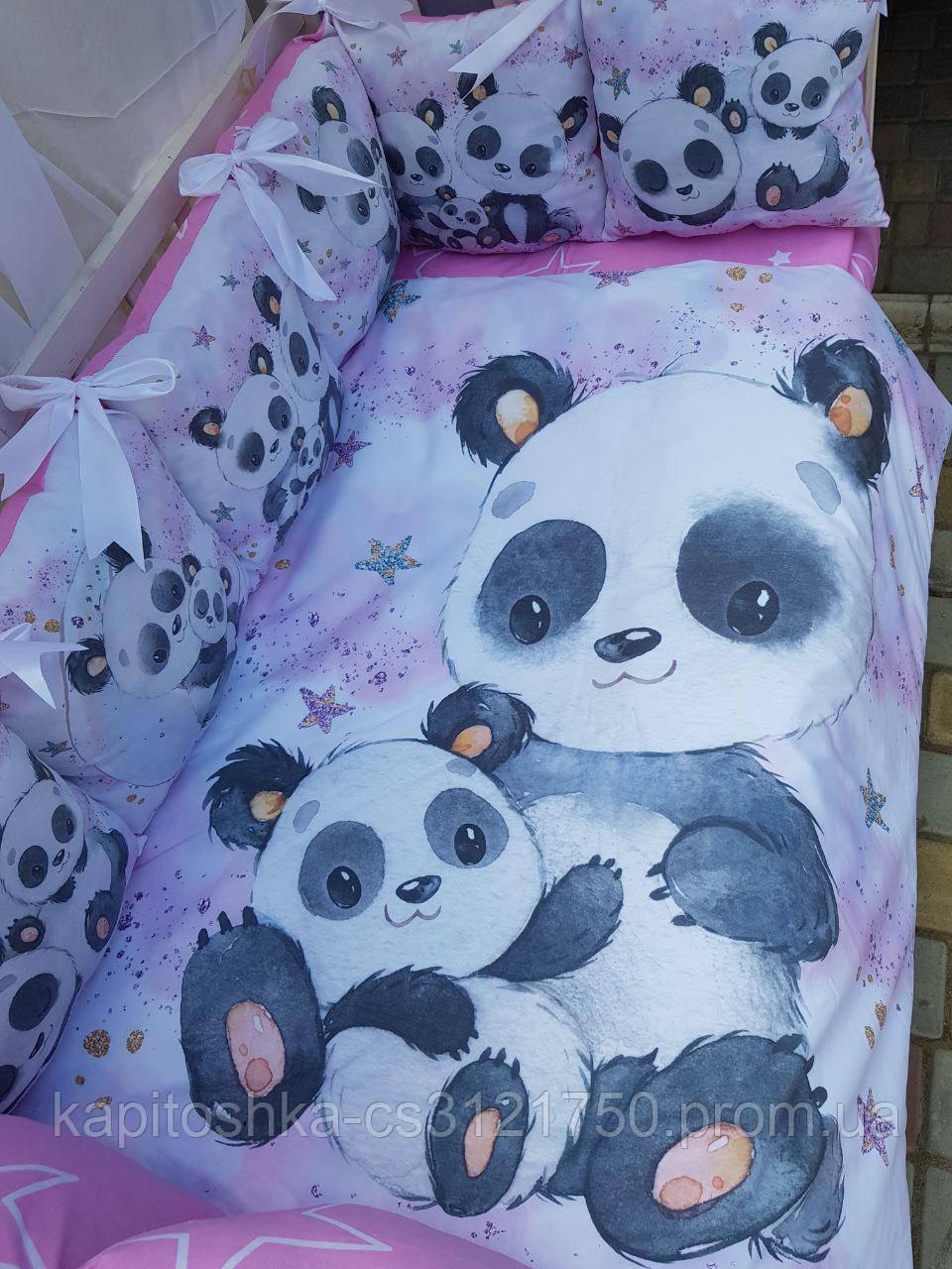 Комплект в детскую кроватку 8 в 1 Спальный комплект для девочки