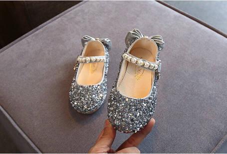 Туфли  нарядные детские  на девочку серебро с бантиком  23-26 р., фото 2