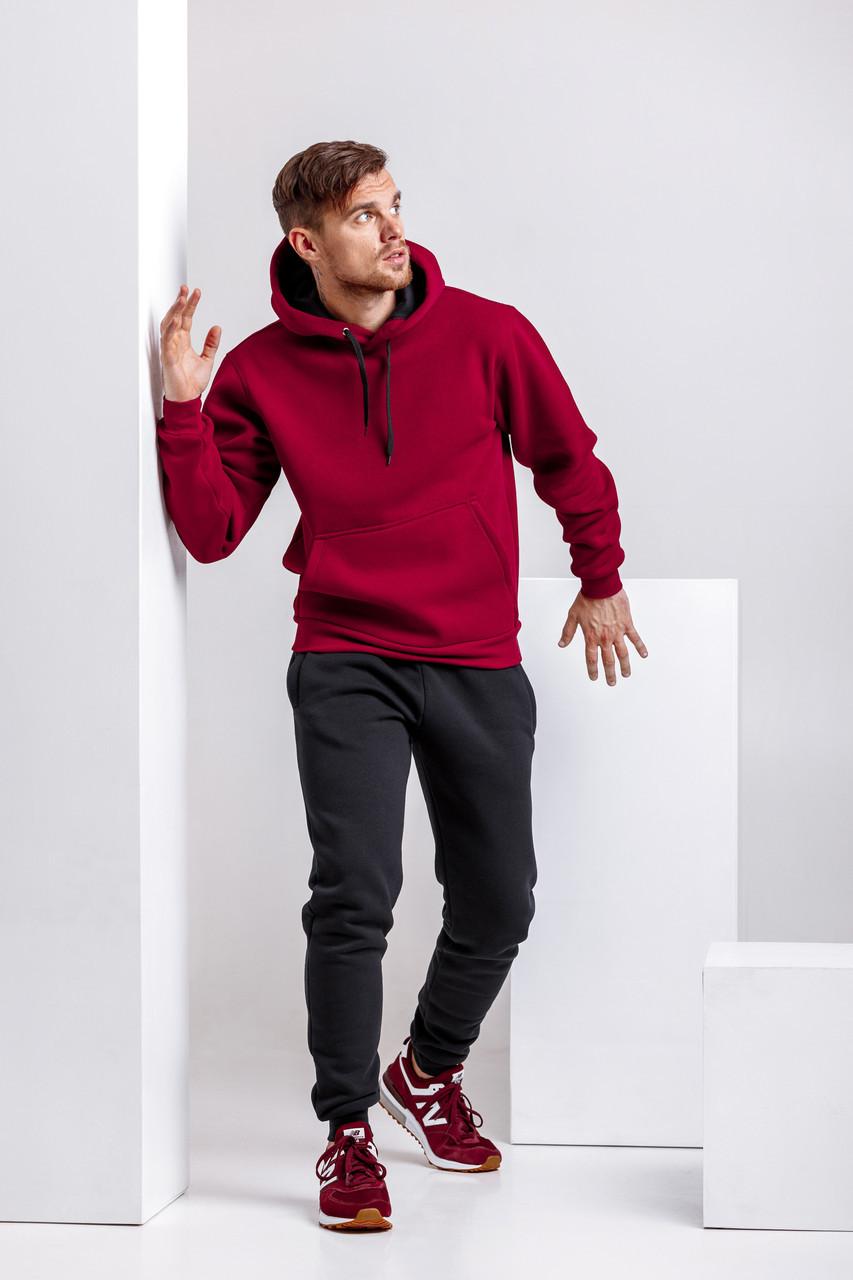 Спортивный костюм для мужчин зимний WB толстовка и штаны классика размер S бордово-черный