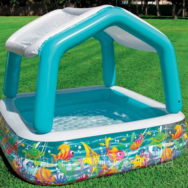 Детский надувной бассейн 157х157х122 с ручным насосом и подстилкой Intex 57470