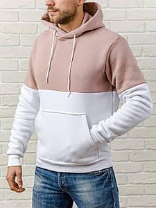 Толстовка теплая мужская с капюшоном WB размер S кофейно-белая