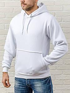 Толстовка теплая мужская с капюшоном WB размер S белая