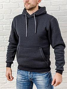 Толстовка теплая мужская с капюшоном WB размер S темно-серая