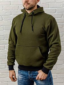 Толстовка теплая мужская с капюшоном WB размер S оливковая