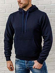 Толстовка теплая мужская с капюшоном WB размер S темно-синяя