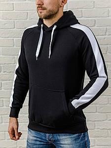 Толстовка теплая мужская с капюшоном WB с белым лампасом размер S черная