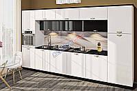 Кухня Хай тек з глянцевими мдф фасадами біло-чорними, фото 1