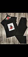 Модная женская пижам штаны и футболка с рисунком.