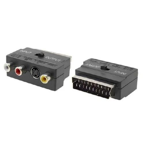 Композитный двусторонний переходник с переключателем RGB Scart адаптер RCA+S-Video Черный