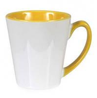 Чашка сублимационная LATTE цветная внутри и ручка ЖЕЛТАЯ